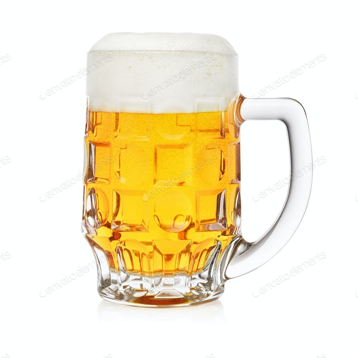 Pint of beer isolated