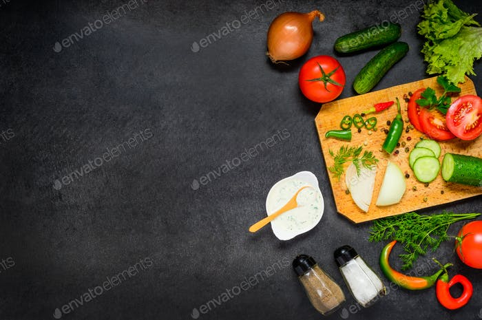 Cooking Ingredients and Vegetables on Copy Space