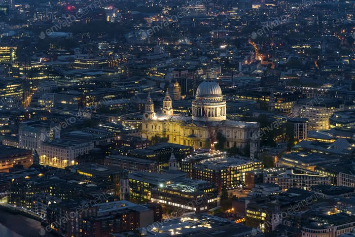Aerial view of St Pauls Cathedral in London at night