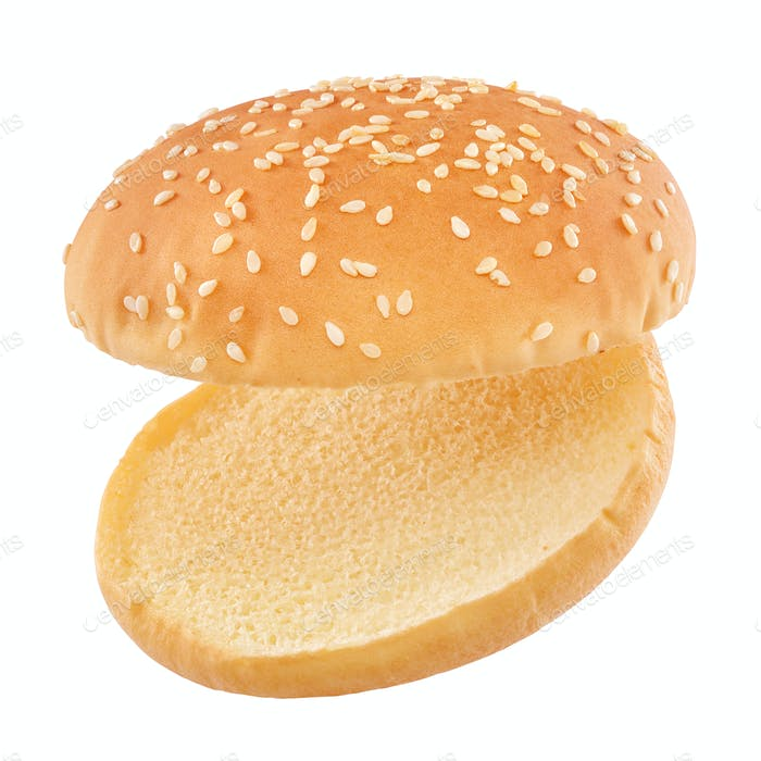 Flying hamburger bun isolated
