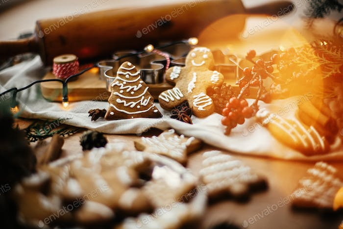Festive gingerbread cookies with anise, cinnamon, pine cones, cedar branches
