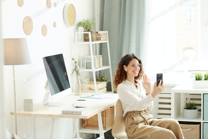 Businesswoman Having Video Call
