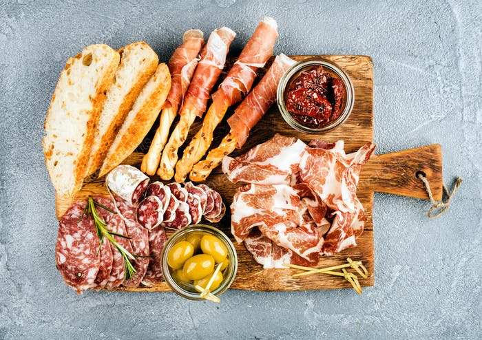 Meat appetizer selection or wine snack set