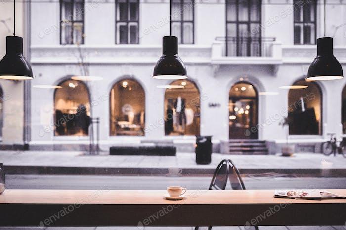 Coffee shop desktop wallpaper background, white tone