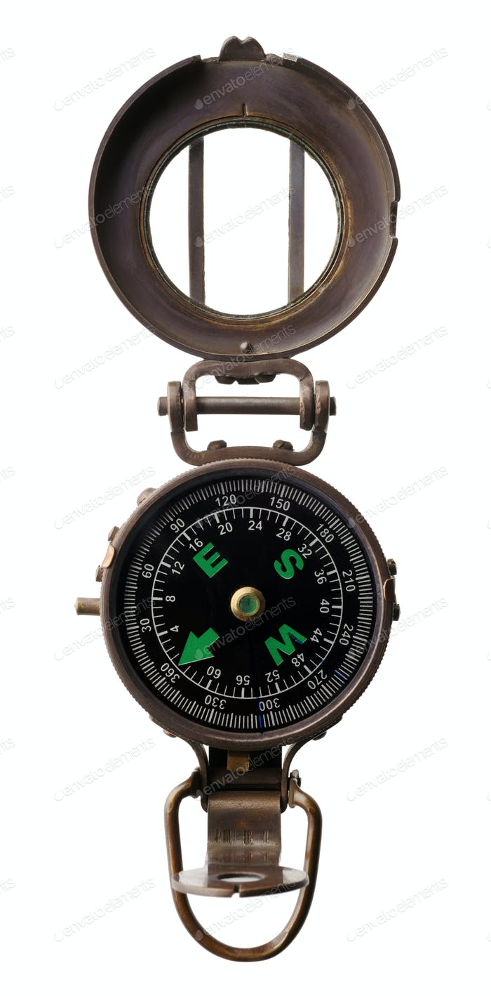 Round old compass