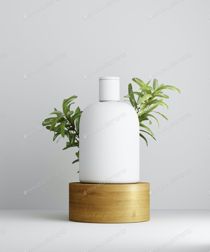 Geometric pedestal with cosmetic bottle presentation and leaves. White background. Mockup.