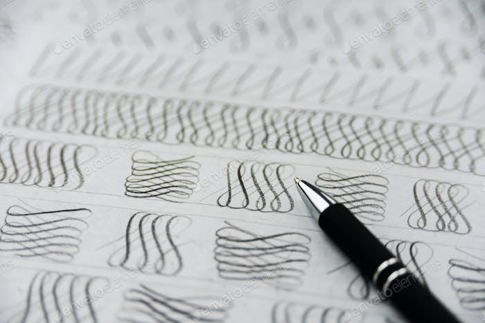 Handwriting calligraphy sheets
