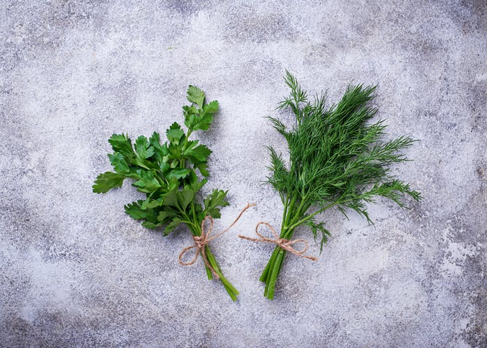 Bunch of fresh parsley and dill