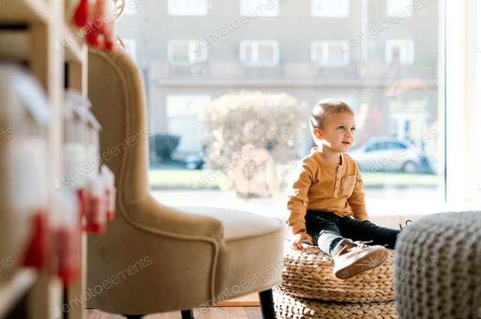A small toddler boy sitting in zero waste shop. Copy space.