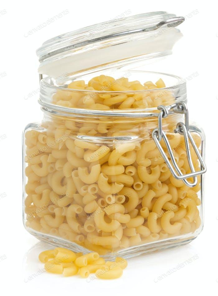 raw pasta on white