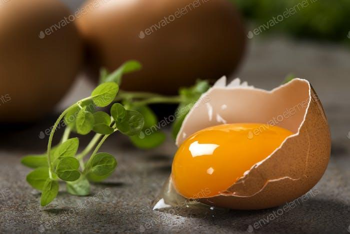 Ein rissiges Ei mit Eigelb und frischem grünem Oregano