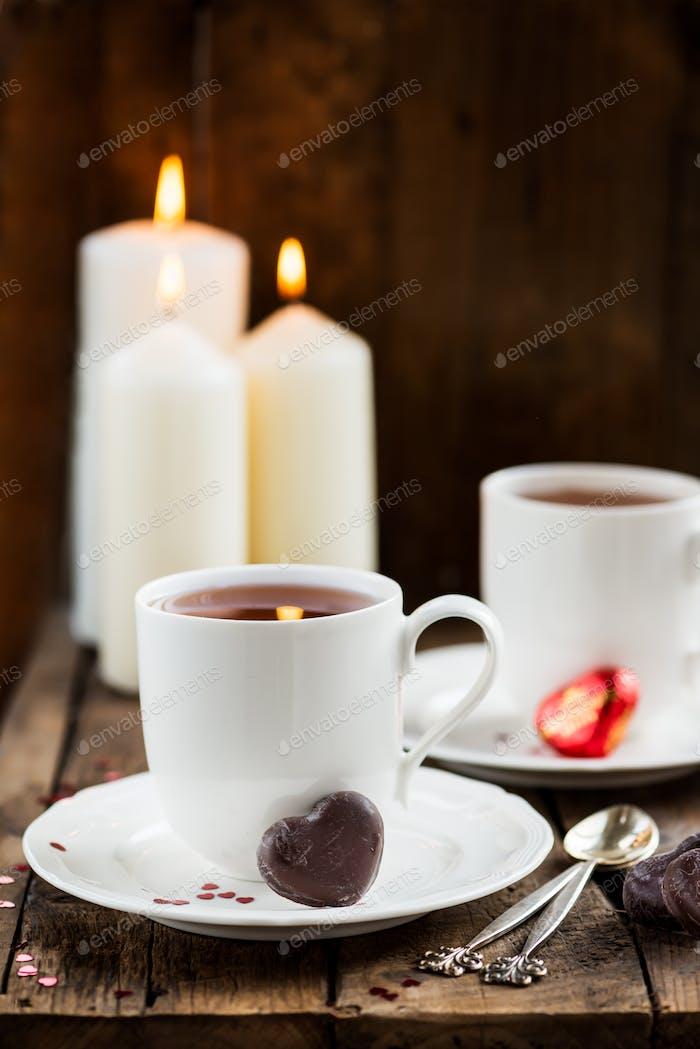 Hot Tea in White Cups