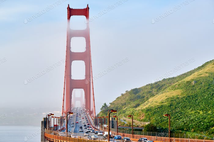 Golden Gate Bridge view at foggy morning