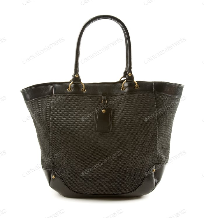 Raffia and black leather basket tote