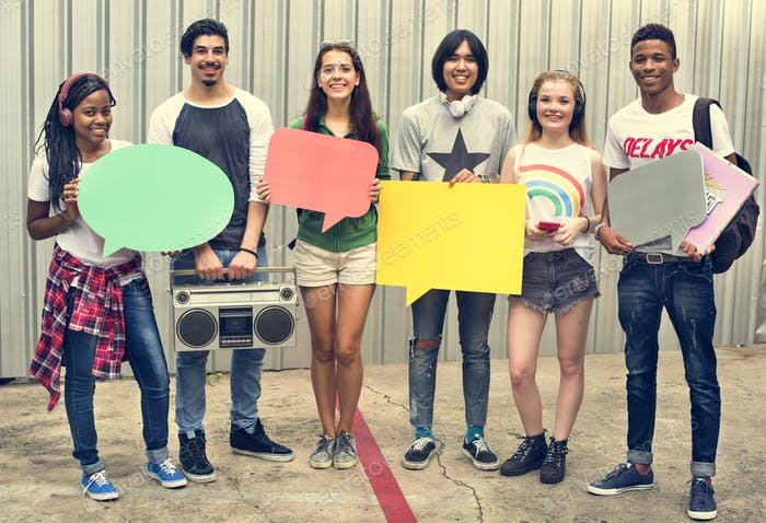 Diverse Group People Holding Speech Bubble Concept