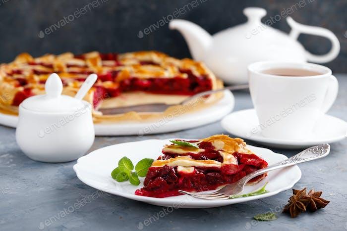 American cherry pie with fresh berries