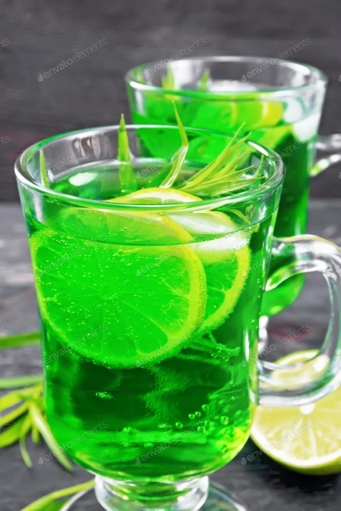 Lemonade Tarragon in goblets on board