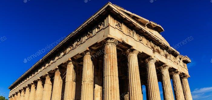 Athens, Greece. Hephaestus temple on blue sky background