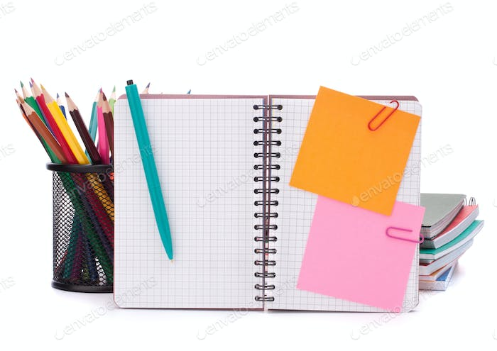 Blank checked notebook with notice papers
