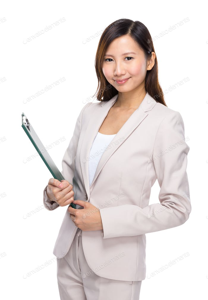 Asian businesswoman hold clipboard
