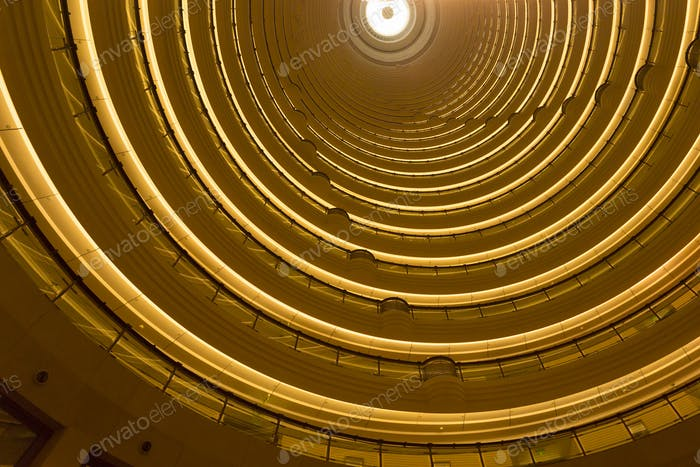 Interior view of the Jin Mao Tower in Shanghai