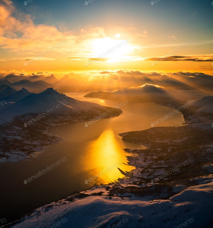 Aerial view of mountain landscape in winter season, Norway, Europe
