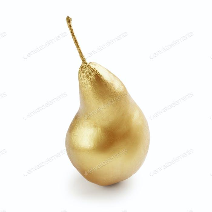 Golden pear on white