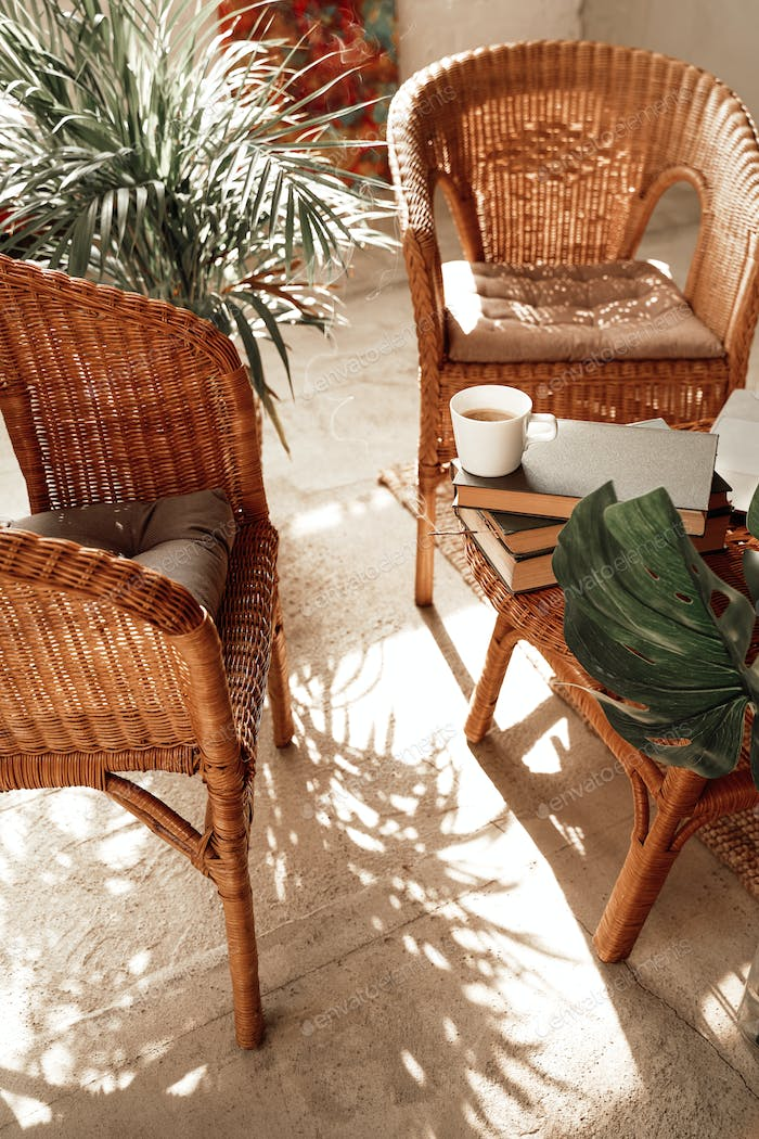 Luxurious hotel room with bamboo furniture in daytime