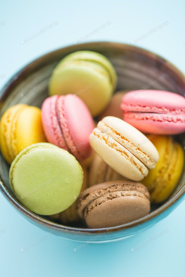 Tasty sweet macarons.
