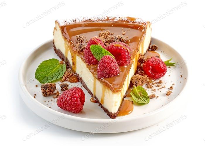 piece of caramel cheesecake