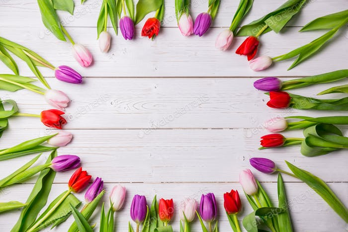 Tulips forming frame on wooden table