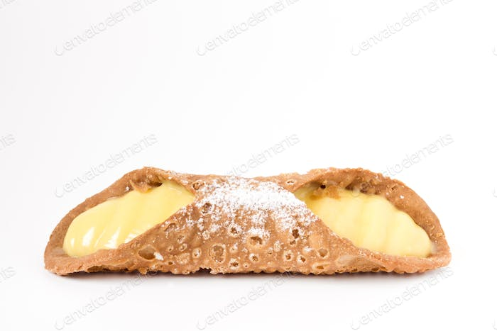 Sicilian cannolo on white background