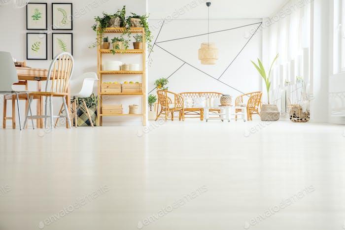 Wooden furniture in modern interior