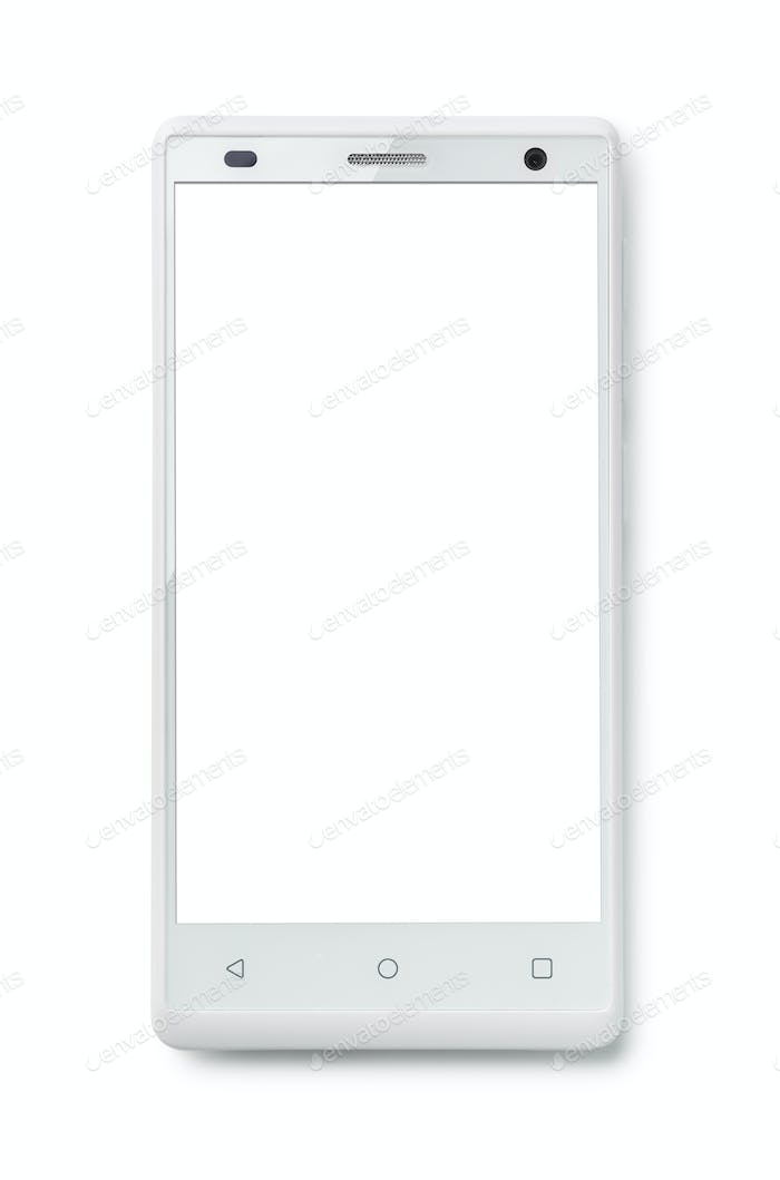 Top view of modern smartphone with blank screen