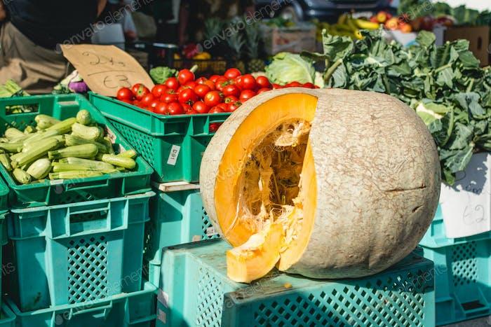 Pumpkin for sale at farmers market