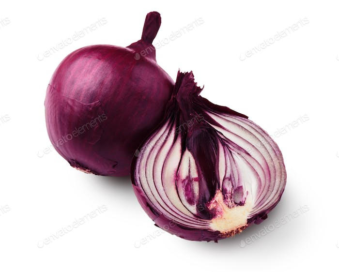 One red onion half closeup isolated on white background