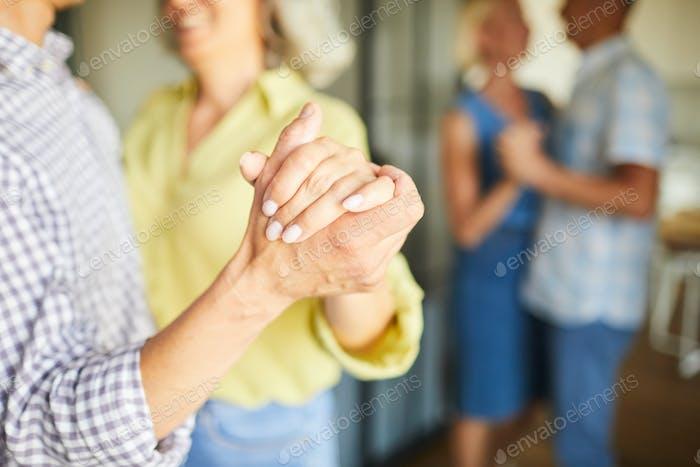 Senior People Slow dancing Closeup