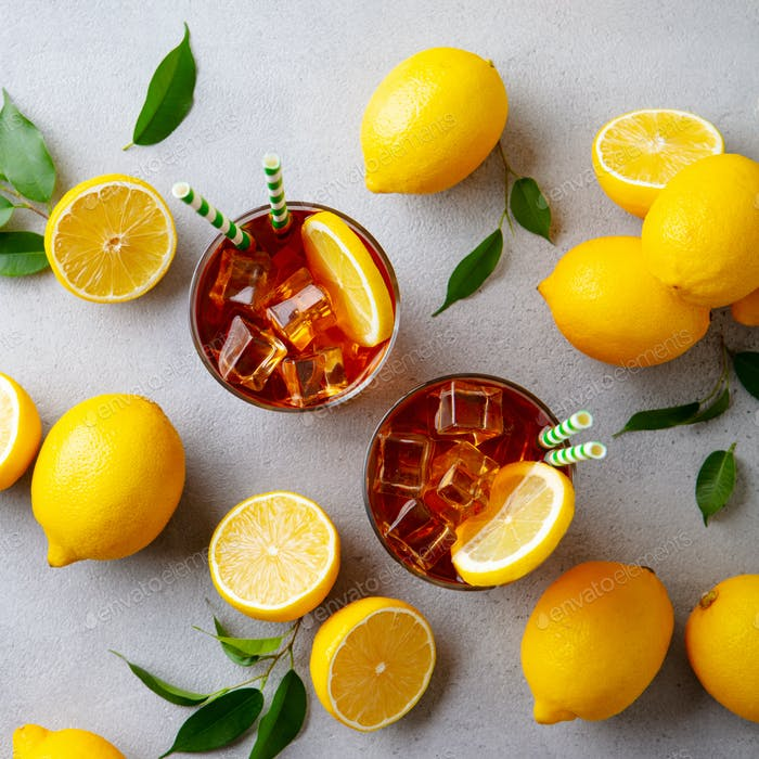 Lemon Ice Tea. Grey background. Top view.