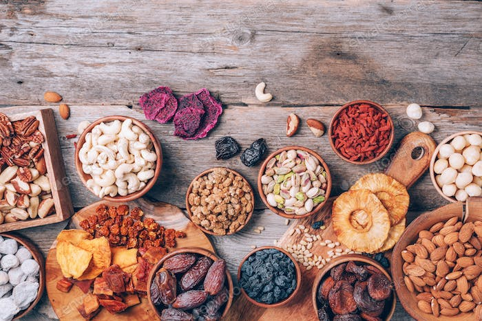 Mix of dried fruits and nuts -brazil nuts, cashew, pecan, almonds, macadamia, pine nuts, hazelnuts