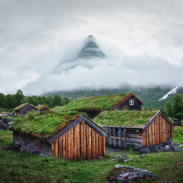 Norwegian old wooden fishing houses