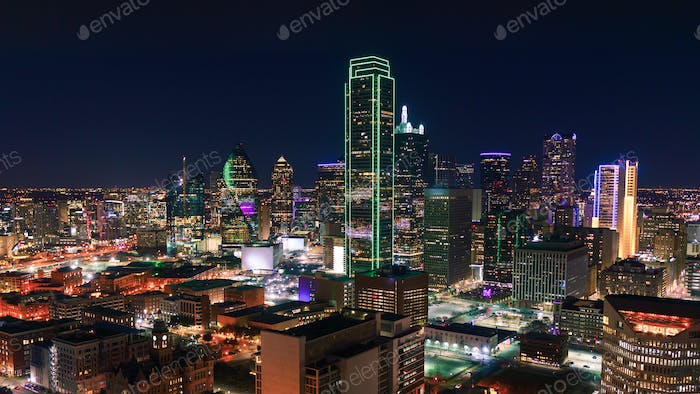 Dallas, Texas Cityscape with Skyscrapers Illuminated at Night
