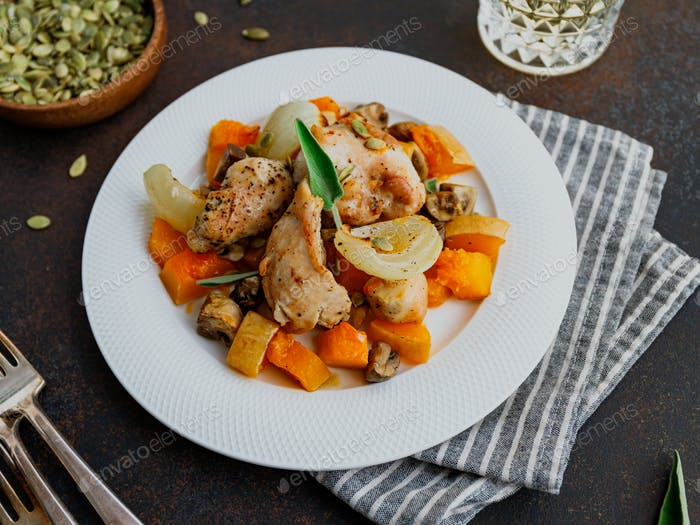 Seasonal autumn low calorie recipe from baked turkey medallions with pumpkin