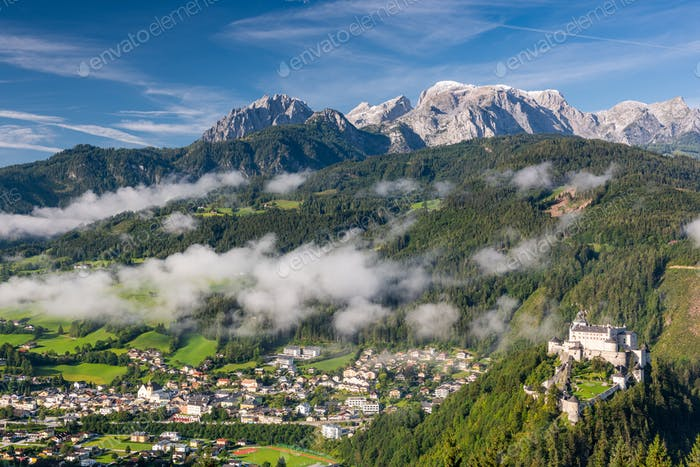Hohenwerfen Castle in Austria at Hilltop with Fog Covering Villa