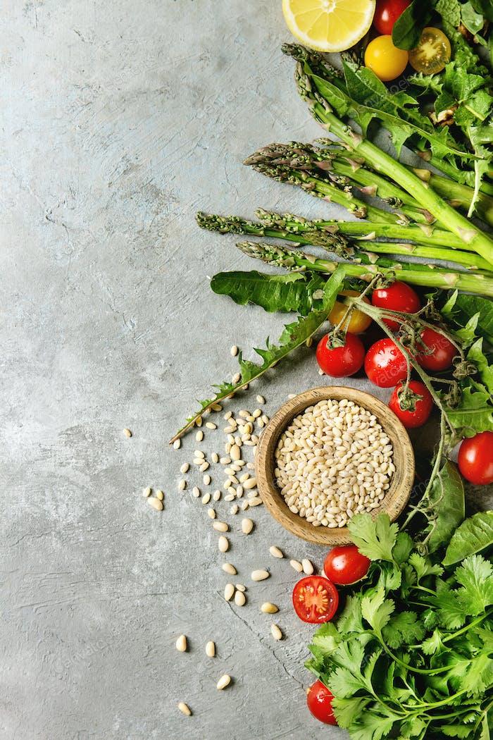 Assortment of vegetarian food ingredients