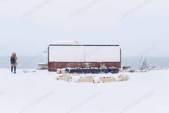Snowy landscape by the sea