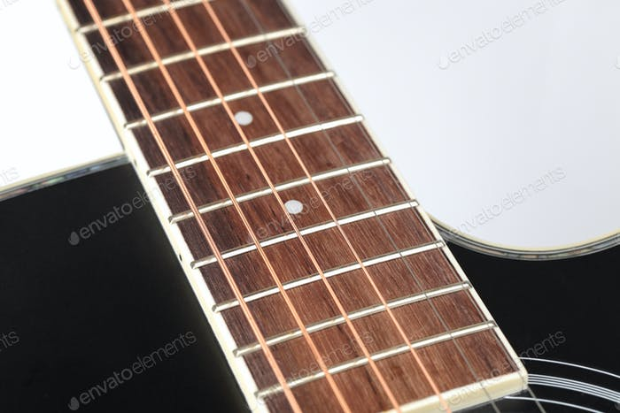 closeup of the acoustic guitar