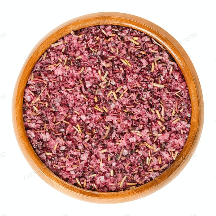Fleur de Sel with hibiscus and rosemary in wooden bowl