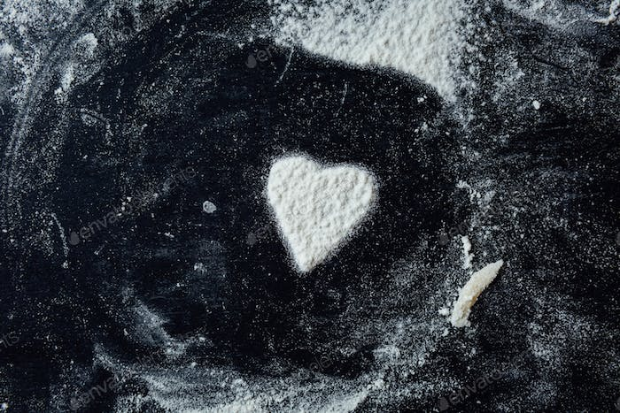 Small heart made with flour