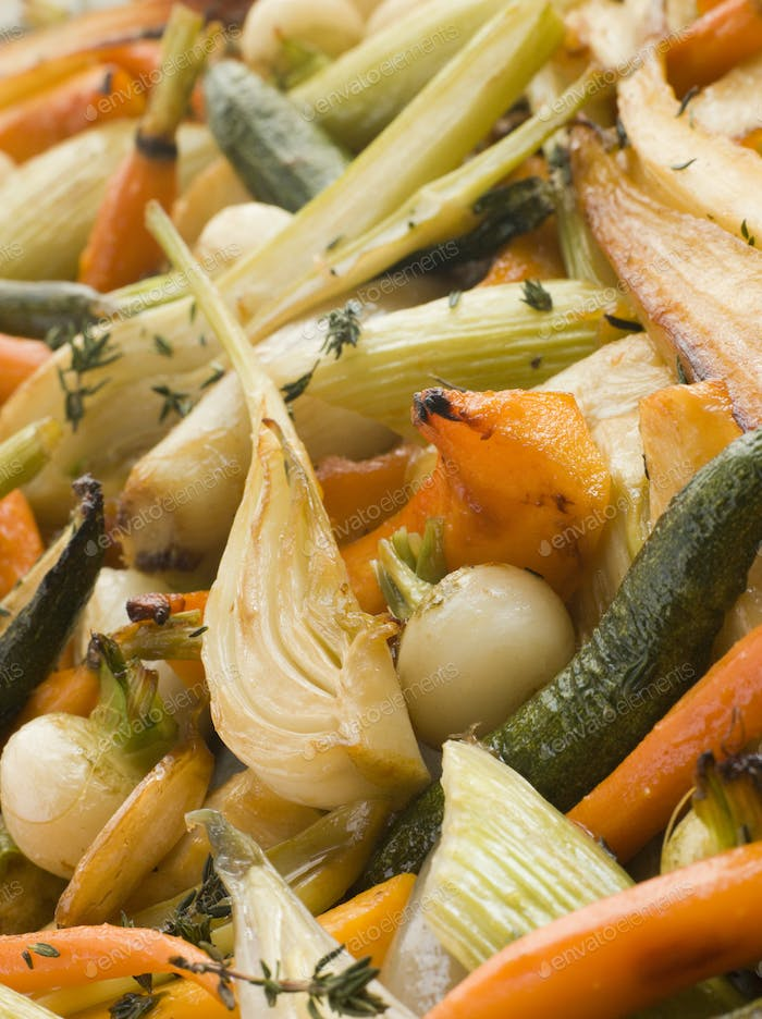 Honey and Thyme Roasted Baby Vegetables