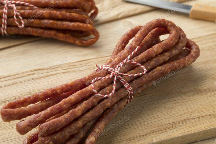 Polish thin Kabanosy sausage